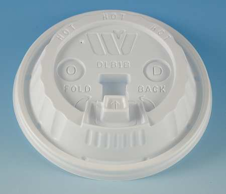 Lid for 12 to 24 oz. Hot Cup,  Dome,  Reclosable,  Sip Through,  White,  Pk1000