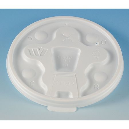 8 to 10 fl. oz. White Cup Lid,  Flat,  Lock Back Tear Tab,  Pk1000