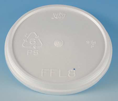 8 to 10 fl. oz. White Cup Lid,  Flat,  Vented,  Pk500