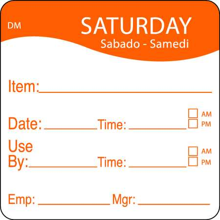Day Label, Saturday, 4-1/2 In. W, PK250
