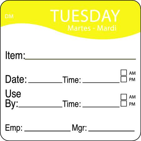 Day Label, Tuesday, 2-5/9 In. W, PK250