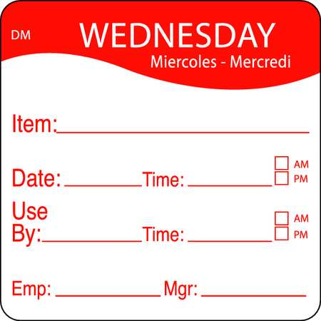 Day Label, Wednesday, 2-2/5 In. W, PK250