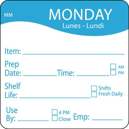 Day Label, Monday, 3 In. W, PK500