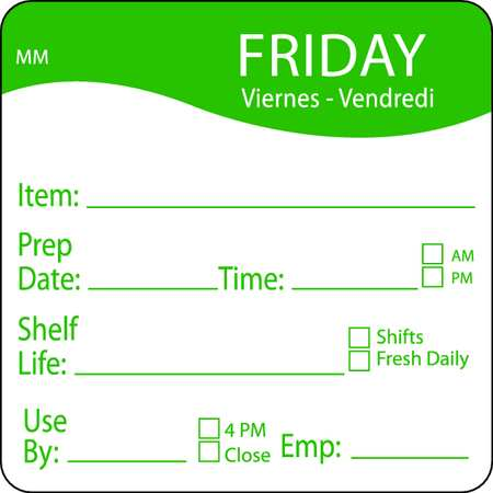 Day Label, Friday, 3 In. W, PK500