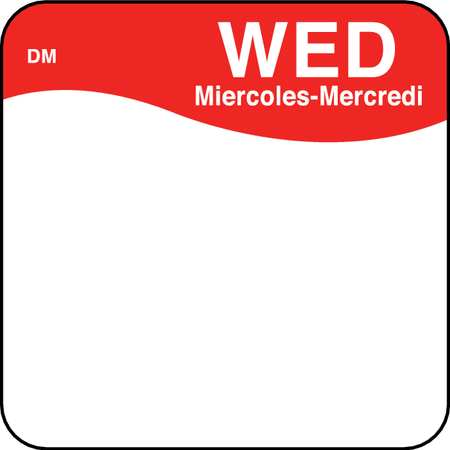 Day Label, Wednesday, 1 x 1 In., PK500