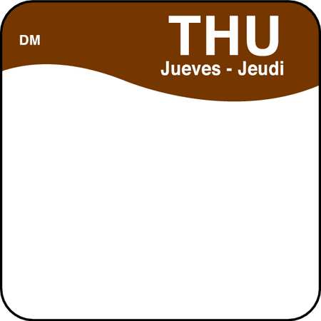 Day Label, Thursday, 1 x 1 In., PK500