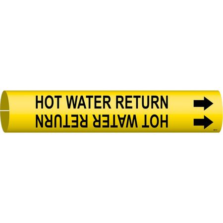 Pipe Marker, Hot Water Return, Y, 4 to6 In