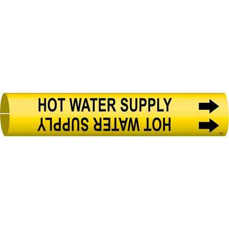 Pipe Marker, Hot Water Supply, Y, 4 to6 In