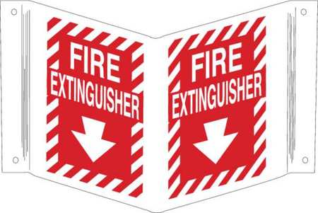 Fire Extinguisher Sign, 12 x 18In, WHT/R