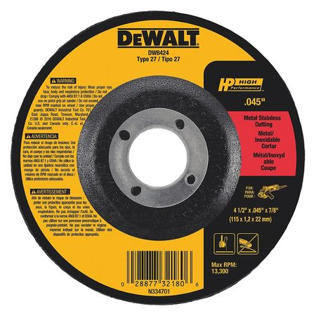 Depressed Ctr Wheel, T27, 4.5x0.045x7/8, AO