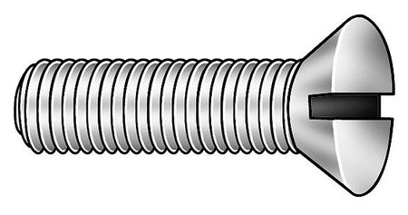 "#0-80 x 1/2"" Flat Head Slotted Machine Screw,  100 pk."