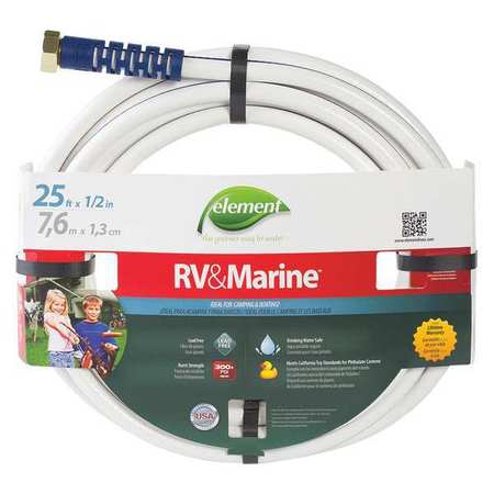 Water Hose, PVC, 1/2 In ID, 25 ft L
