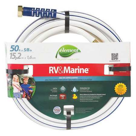 Water Hose, PVC, 5/8 In ID, 50 ft L