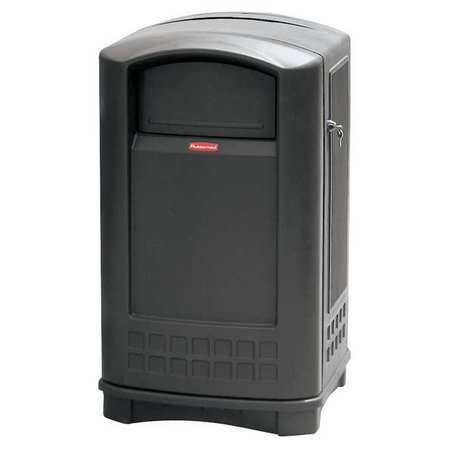 50 gal.  Square  Black  Trash Can w/ Disposal Opening
