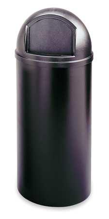 25 gal. Black Plastic Round Marshal Classic Trash Can