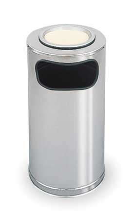12 gal.  Round  Gray  Trash Can w/ Disposal Opening