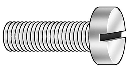 M3.5-0.6 x 6 mm. Cheese Head Slotted Machine Screw,  100 pk.