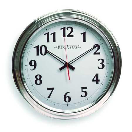 "18"" Analog Quartz Wall Clock,  Silver"