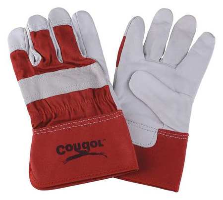 Leather Gloves, Goatskin, Red/White, XL, PR