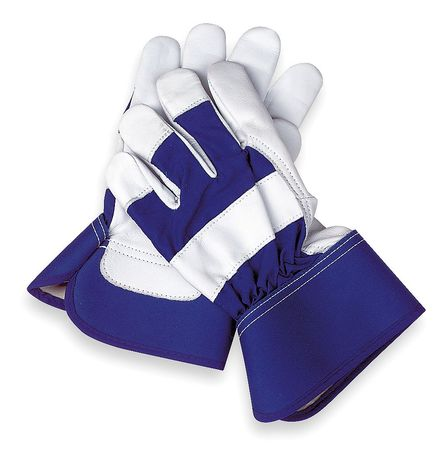 Leather Gloves, Goatskin, Blue/White, M, PR