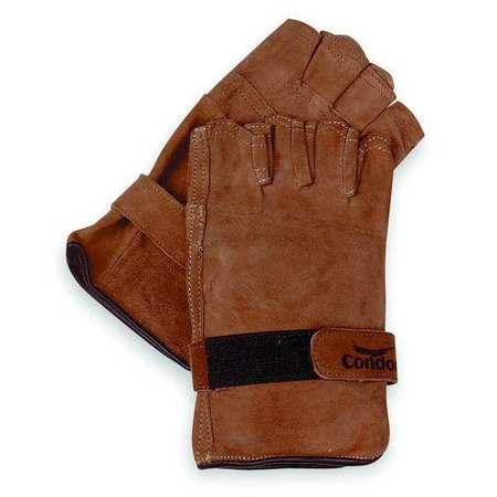 Leather Gloves, Fingerless, Brown, L, PR