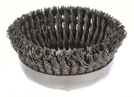 Knot Wire Cup Wire Brush,  Threaded Arbor,  6""