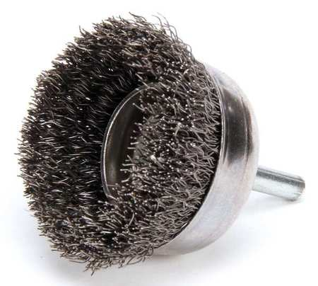 "Crimped Wire Cup Wire Brush,  2"",  0.0118"""