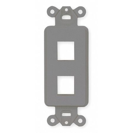 Outlet Frame, 2 Port, Flush Mount, Gray