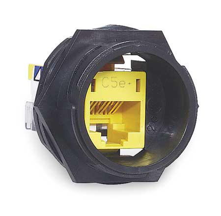 Connector, Cat5e, Black/Yellow