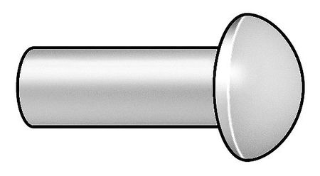 Rivet, Round, 1/8 Dia, 3/4 In L, PK100