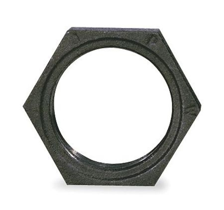 "1-1/2"" FNPT Black Malleable Iron Hex Locknut"