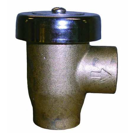 Vacuum Breaker, 1/2 In, FNPT, Brass, 125 psi