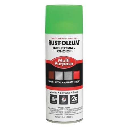 Industrial Spray Paint, Fluor., Green, 12oz