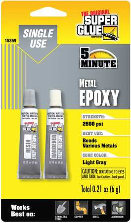 Epoxy, Quick Setting Metal, (2)-3gTubes