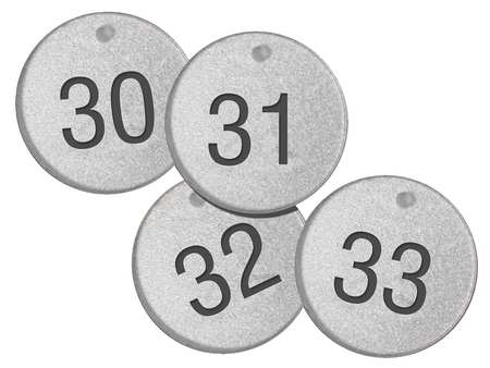 "NumberTags, 1-1/2"", Round, 126 to 150, PK25"