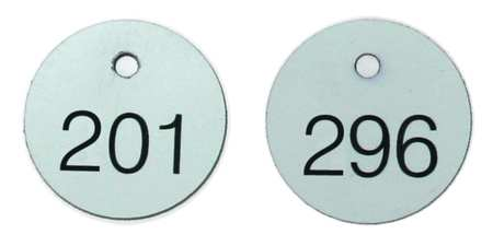 Numbered Tags, 1-1/8 In, 201 to 300, PK100