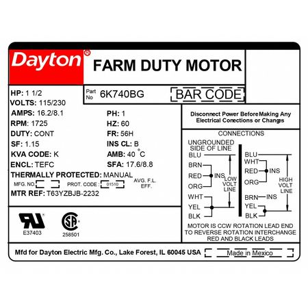 dayton farm duty motor capacitor start 1725rpm 6k740 zoro com rh zoro com Run Capacitor Wiring Dayton 1 HP Wiring Diagram
