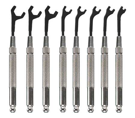Open End Wrench Set, 30 Deg, 2.5-7mm, 8 Pc