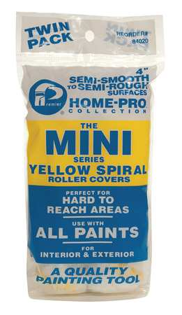 Mini Paint Roller Cover, 4 In, PK2