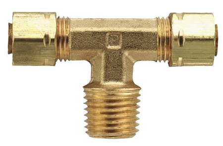 "1/4"" Compression x 1/8"" MNPT Brass Branch Tee 10PK"