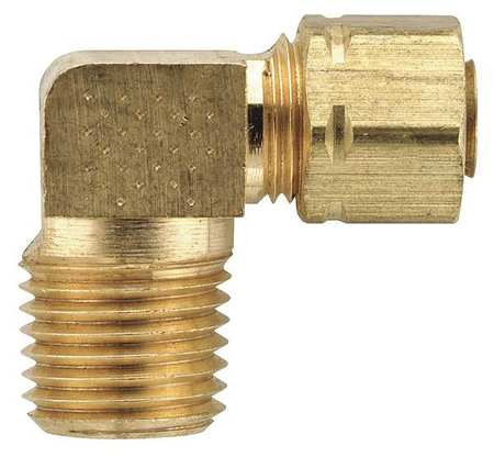 "3/8"" Compression x 1/8"" MNPT Brass 90 Degree Elbow 10PK"