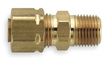 "3/8"" Compression x 1/4"" MNPT Brass Connector 100PK"