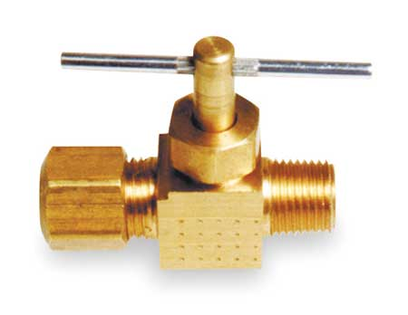 Needle Valve, Straight, Brass, 1/4 In.