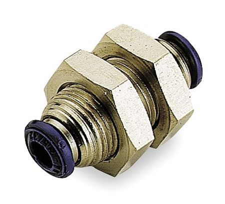 Bulkhead Union, 3/8 In, NP Brass, PK10
