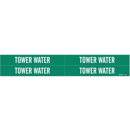 Pipe Marker, Tower Water, Gn, 3/4to2-3/8 In