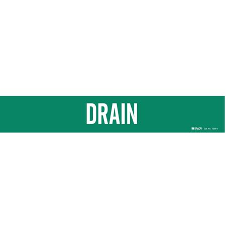 Pipe Marker, Drain, Grn, 2-1/2 to 7-7/8 In