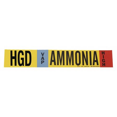 Ammonia Pipe Marker, HGD, 8In and Above