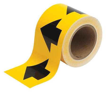Arrow Tape, Black/Yellow, 4 In. W