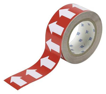 Arrow Tape, White/Red, 2 In. W, 90 ft. L