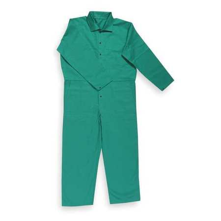 Flame Resistant Coverall,  Green,  Cotton,  L